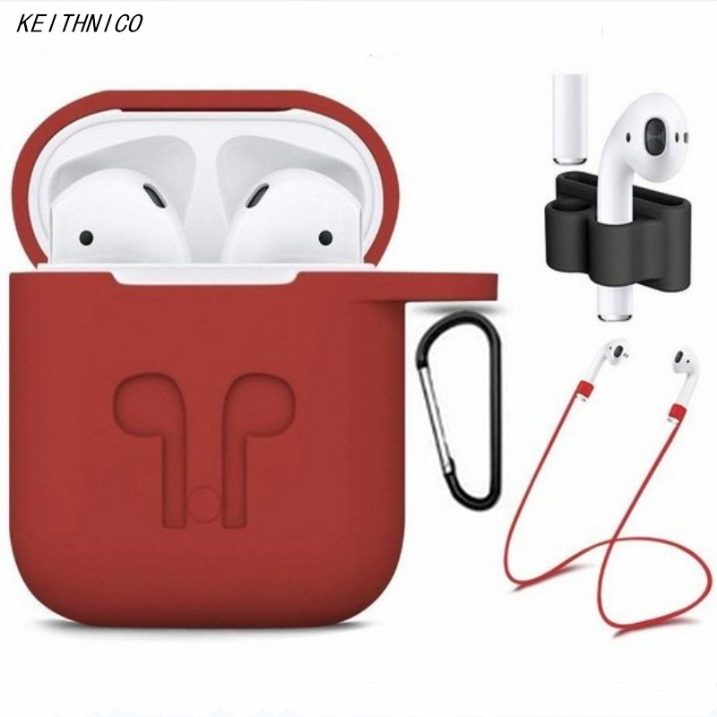 AirPods Case Accessories Shockproof Protective Silicone Cover and Skin with Anti-lost Airpods Strap/Holder for Apple Airpods