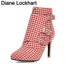2019 grande taille femmes bottes mode Plaid bout pointu talons hauts chaussures pour femmes Sexy automne hiver bottines femme taille 31 32
