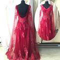 Fashion Design Sequined Sexy Lace Appliques Pageant Prom Party Gowns Blue Real Sample Red Crystal Beaded Evening Dress ASAE24