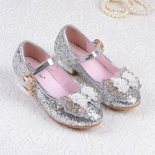 9b7bb90c4ba8c Paillettes Chaussure Fille Princesse enfants chaussures à talons hauts robe  de soirée en cuir pantoufle pour