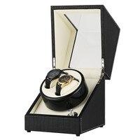 18*18*20.5 cm 2+0 Storage Watch Winder Wooden Winding Box Automatic Watch Motor Shaker Box with US/UK/AU/EU Plug