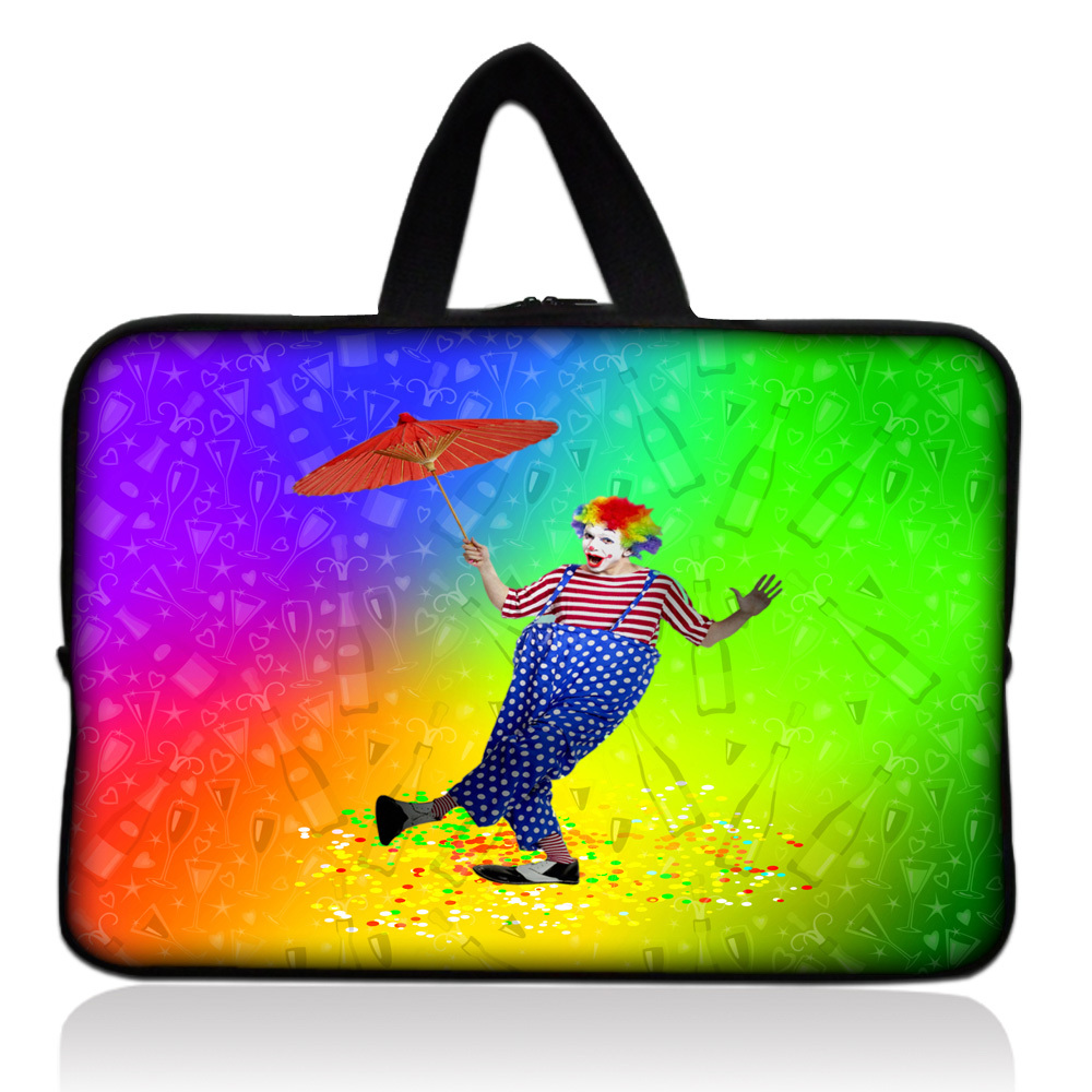 Dancing Clown Soft Sleeve Case Bag Cover +Handle For 7 inch Barnes & Noble NOOK & Samsung Galaxy Tab 2 Tablet PC