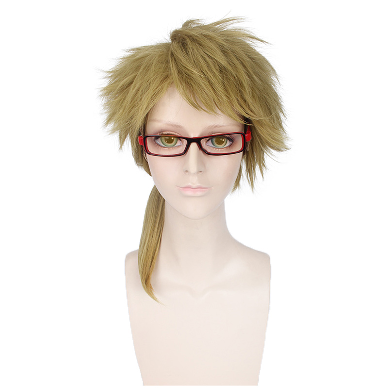 Anime Bungo Stray Dogs Kunikida Doppo  Ponytail Wigs Cosplay Costume Men Heat Resistant Synthetic Hair Halloween Party Wigs