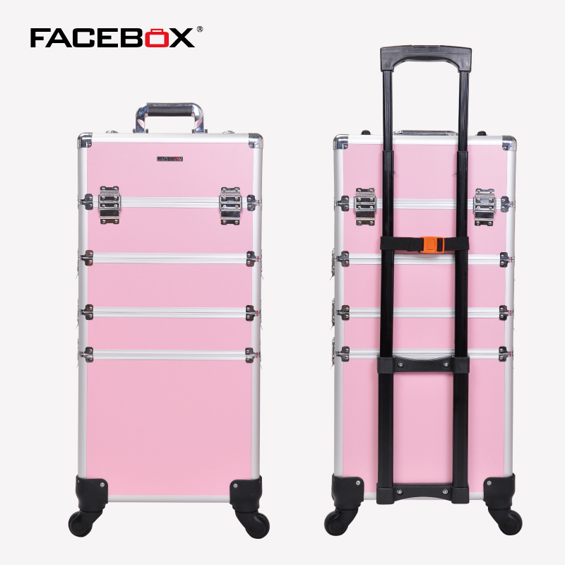 Facebox 4 in 1 Trolley Trolley Makeup Box Beauty Case with wheels Professional makeup box Black and pink with Universal Wheels