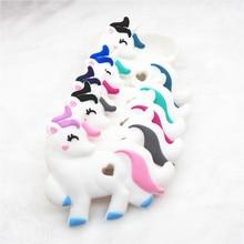 Chenkai 10PCS BPA Free Silicone Unicorn Teether DIY Baby Shower Cartoon Animal Pacifier Dummy Sensory Toy Accessories