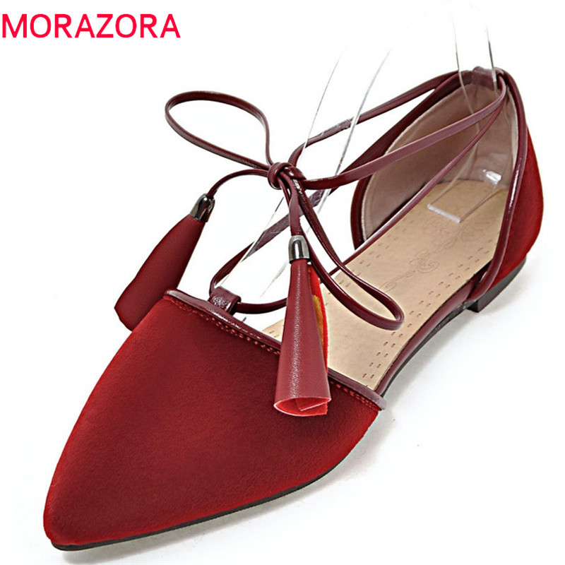 MORAZORA 2018 new spring summer loafers lace up horsehair pointed toe sexy party wedding shoes black color women flats new 2017 spring summer women shoes pointed toe high quality brand fashion womens flats ladies plus size 41 sweet flock t179