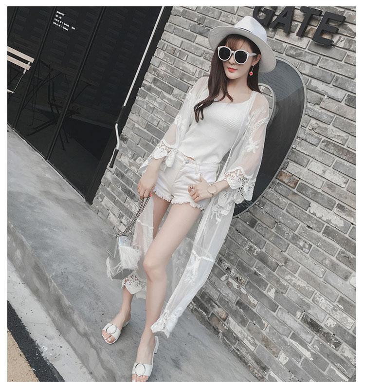 1 Y Feminina Mujeres Blanco Blusa 2018 Protección Coreano Primavera Tops Cardigan Moda Encaje Camisa Verano Blusas Solar Czap1