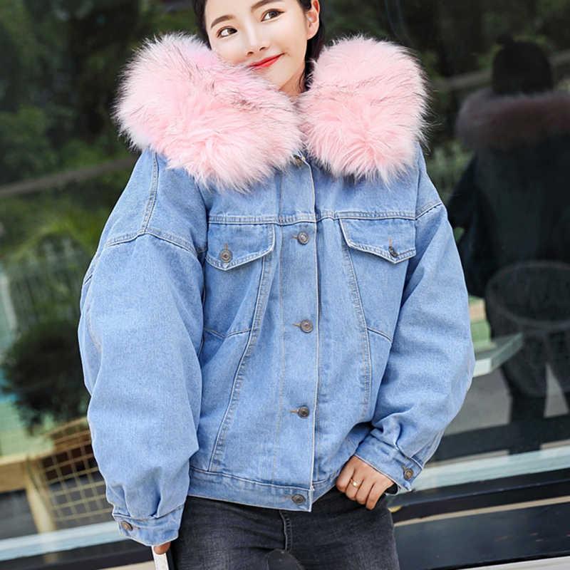 ee1ea75e1b5 На зимнем меху джинсовая куртка Для женщин Мода искусственного меха кролика  синие джинсы куртка с теплой