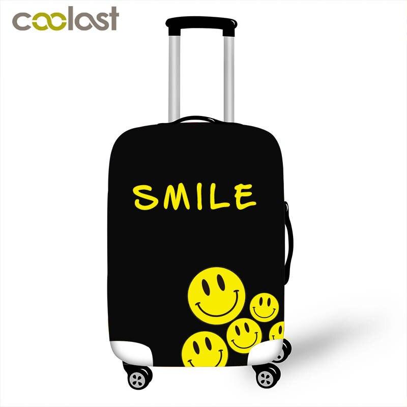 Grappige Glimlach Gezicht Bagage Beschermende Covers Cartoon Koffer Cover Voor Reizen 18 Tot 32 Inch Trolley Bagage Anti-dust Cover Fijn Verwerkt