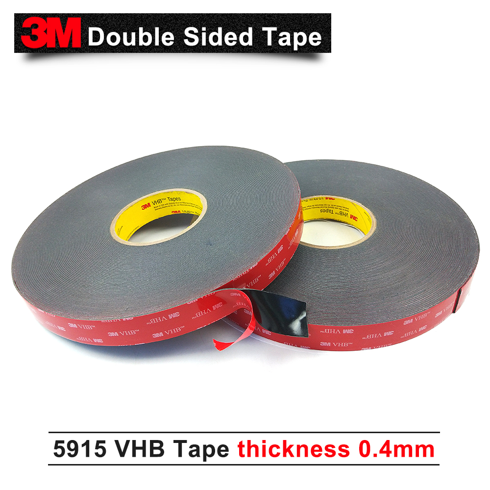 5Roll/Lot 3M tape double sided adhesive foam VHB 5915 dark gray color acrylic foam thickness 0.4mm/Size 25mm*33m 1piece 3m vhb 5952 heavy duty double sided adhesive acrylic foam tape black 150mmx100mmx1 1mm