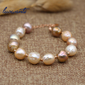 Luowanti 10-11mm Baroque shaped Freshwater Pearl Bracelet S925 Mixed Color Bracelet female gift mother gift