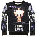 Hot Rap star 2pac tupac Crewneck 3d Sweatshirt hip hop hoodies men/women Fashion tracksuit men moleton masculino size plus S-XL