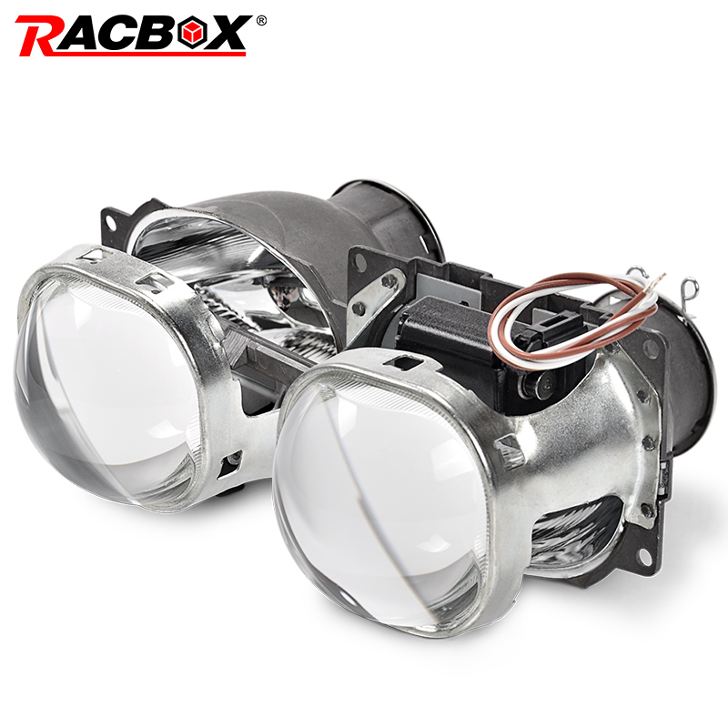 купить RACBOX 2Pcs 3 inch Square Style Q5 Koito Projectore Len HID Bi-xenon LHD RHD for Retrofit H7 Headlight D2S D4S D1S D3S Bulb по цене 2882.41 рублей