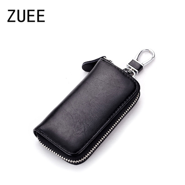 c5ae6d25820b0 Split Leather Unisex Car Key Wallet Male Keys Organizer Women Housekeeper Holders  Key Rings Fashion Keychain Cover Zipper Pouch