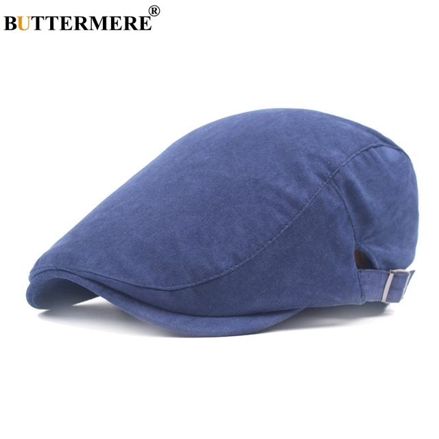 BUTTERMERE Navy Women Men Berets Flat Hats Blue Adjustable Spring Autumn  Male Female Ivy Cap And Hats Cotton British Classic f6cdc120ad8