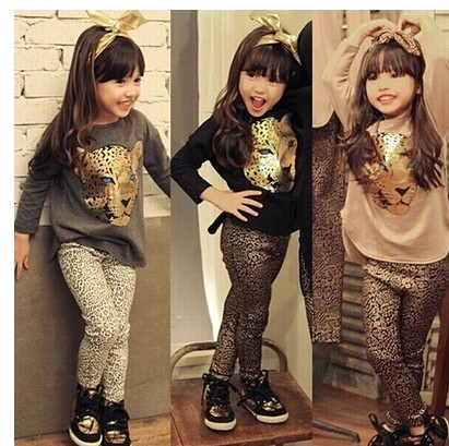 Girls clothing set autumn leopard print casual sports girl suit 2-7 years kids clothes baby children cartoon pullover toddler