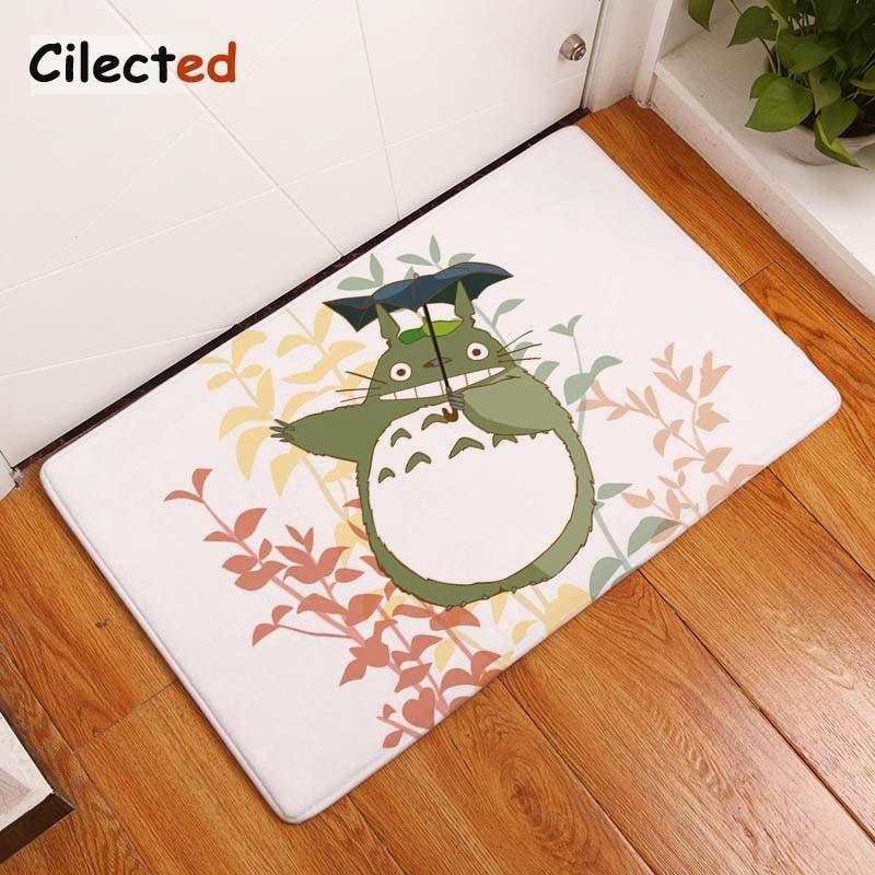 Cilected Leaves Totoro Floor Area Carpet Front Door Mat Muslim Prayer Rug Kids Room Carpet Decorative Non-slip Entrance Rugs