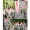 Cinza Best Man Padrinhos de Casamento Terno Formal do Smoking Do Noivo Baile Negócio Terno Dos Homens, Terno costume fazer para requisitar, (casaco + calça)