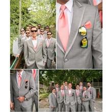 Grey Wedding Best Man Groomsmen Suit Formal Groom Tuxedos Business Prom Men Suit, Custom make to order, (the coat + pants)