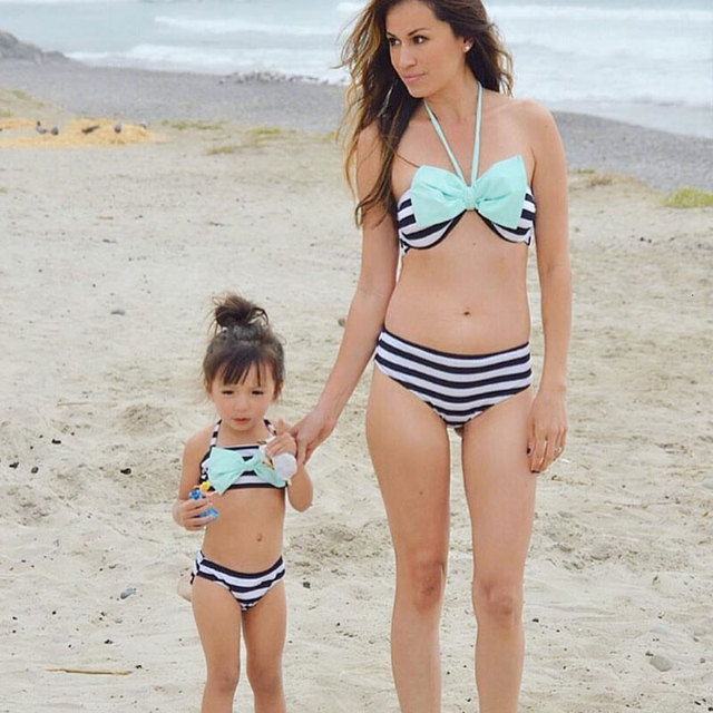 a01e50cbf55 Lovely Family Matching Swimsuits 2018 New Sexy Women Cute Kid Baby Girls  Bikini Set Pop Bow Stripe Bathing Suit Swimwear