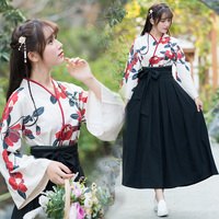 New Vintage Print Antique Chinese Improved Hanfu Collarw two pieces Blouse Shirt 81028