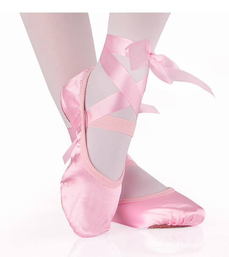 Girls Kids Ballet Point Dance Shoes Children Beginner Practicing Dancing Shoes Soft Sole Satin Ballet Shoes According CM to buy image