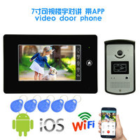 New product 7 inch monitor wire Video door phone with WIFI APPs cellphone control Function security camera door bell for home