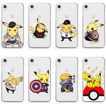 Stylish Funny Cartoon Animated Pokemon Pikachu Soft TPU Phone Cover for iPhone 6Plus 7Plus 8Plus Max XR XS X10 5 5S 6 6S 7 8