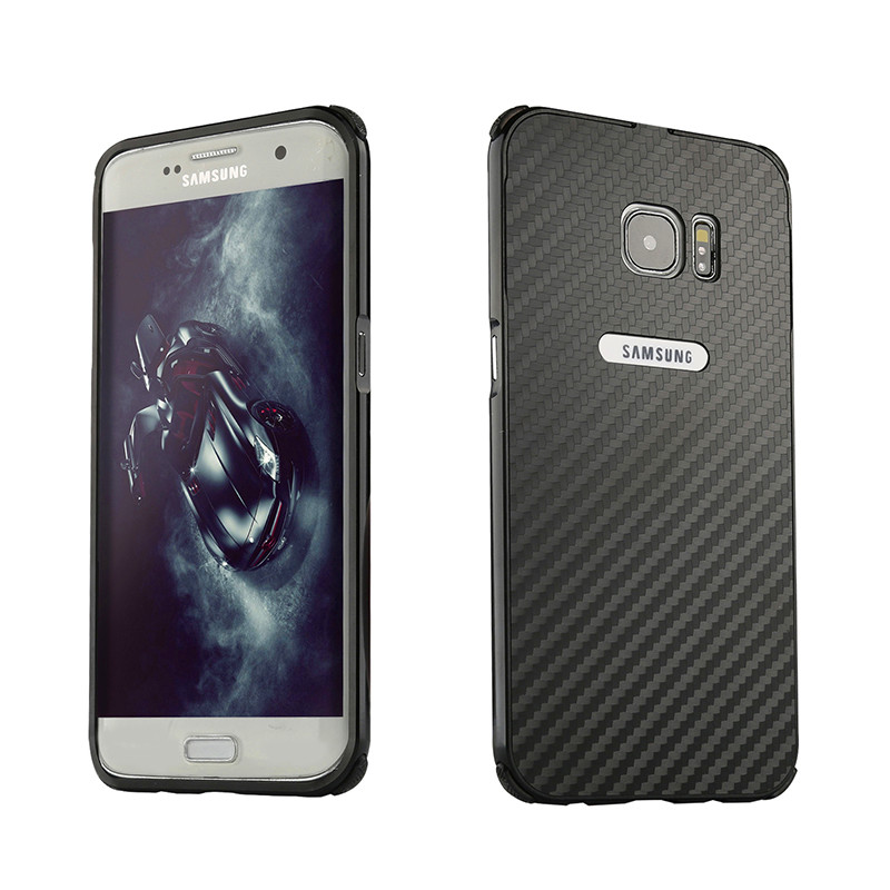 For Samsung S7 G930F Case Metal Frame with Carbon Fiber Hard Cover Case for  for Samsung Galaxy S7