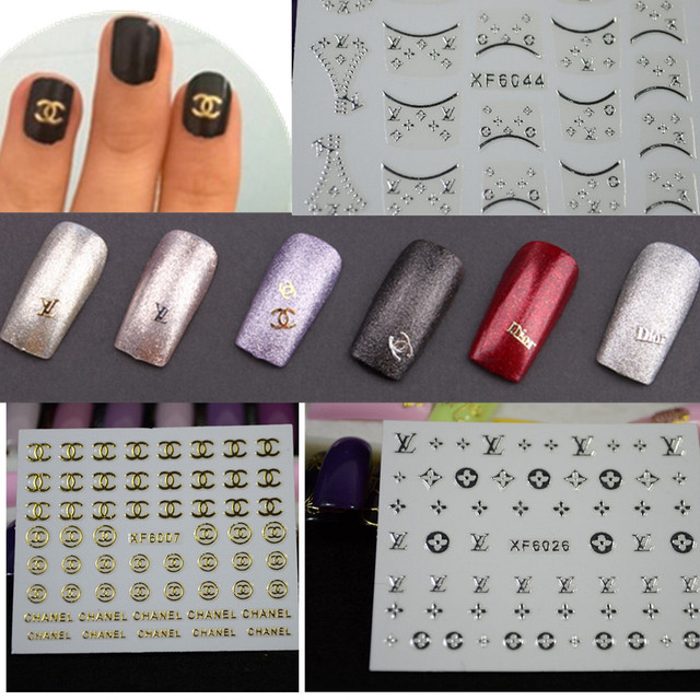 1 Sheets Diy Tips Designs Brand Name Logo Gold Silver Decals Nail Art Stickers Fashion