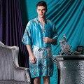 Лето Мужской Сатин Халат Голубой Пижамы Халат Ночная Рубашка Сексуальная мужская Loung и Сна Халаты Пижамы Халаты Домашняя Одежда