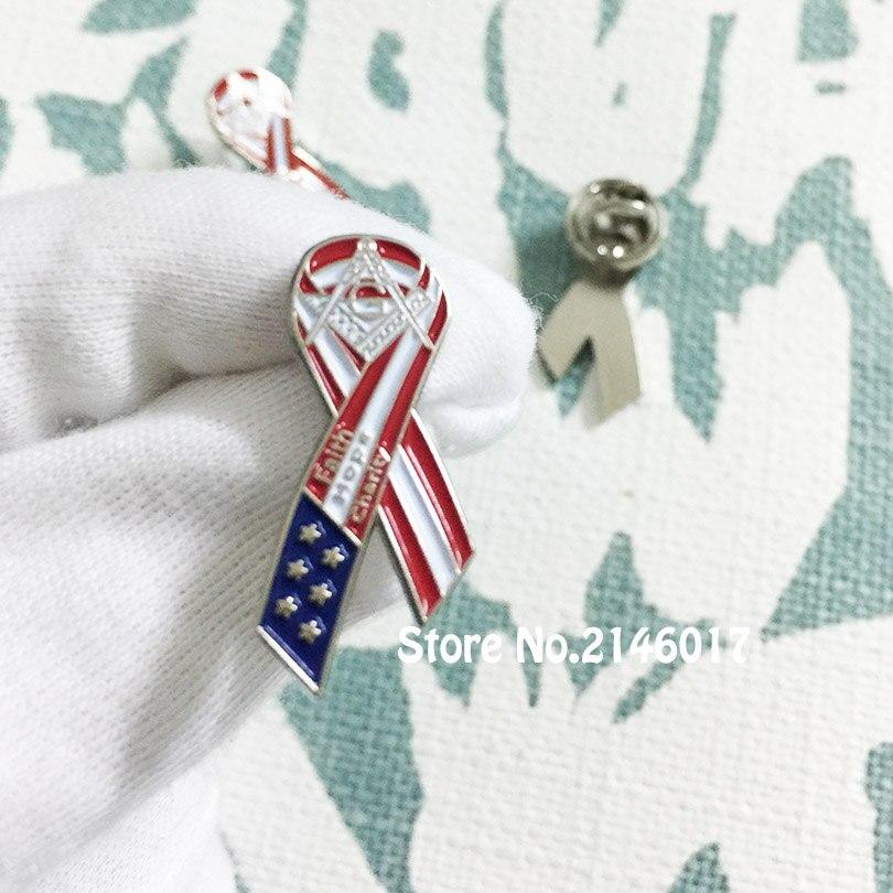 Freemason Faith Charity Ribbon Lapel Pin Hope