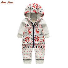 Auro Mesa Christmas Baby Romper Elk Print Jumpsuit Cotton Infant Coverall Outerwear Baby Boys Hooded one