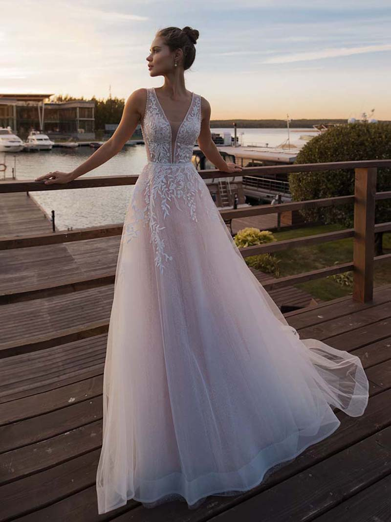 LORIE Light Pink Princess Wedding Dress Sleeveless Appliqued Bride Dress A-Line Tulle Bride Wedding Gowns Boho Wedding Gown