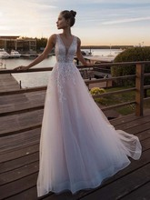 LORIE Light Pink Princess Wedding Dress Sleeveless Appliqued Bride A-Line Tulle Gowns Boho Gown