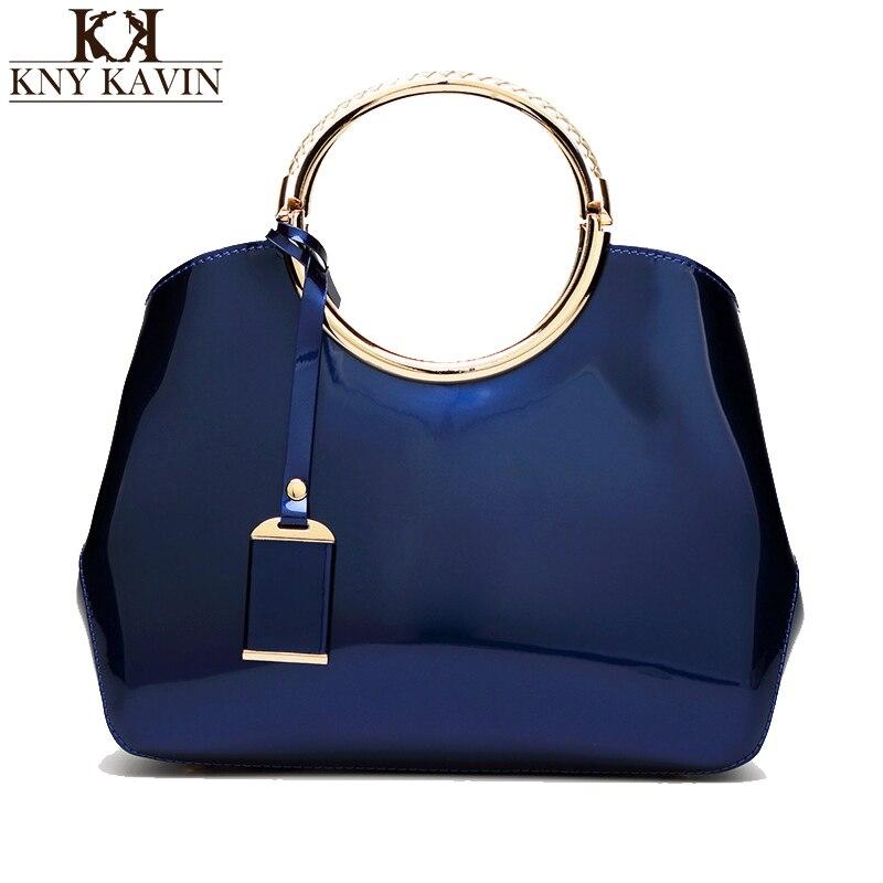 Las mujeres de la vendimia bolsas rojas de charol azul bolsos de las señoras bol