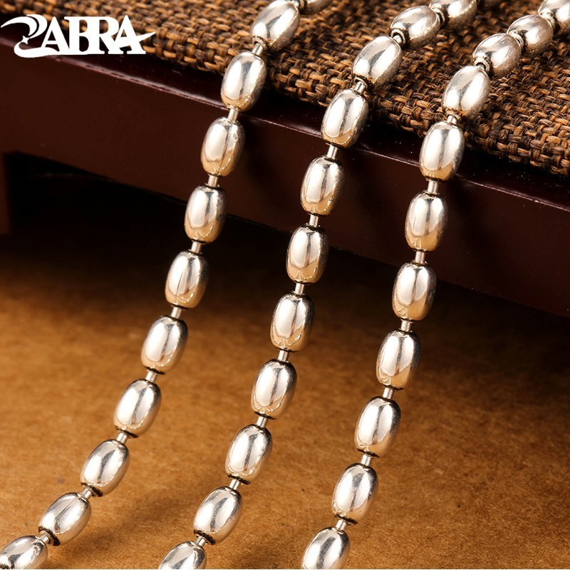 ZABRA Necklace Men 925 Silver 3mm 55cm Vintage Long Round Rice Grain Shape Men s Chain