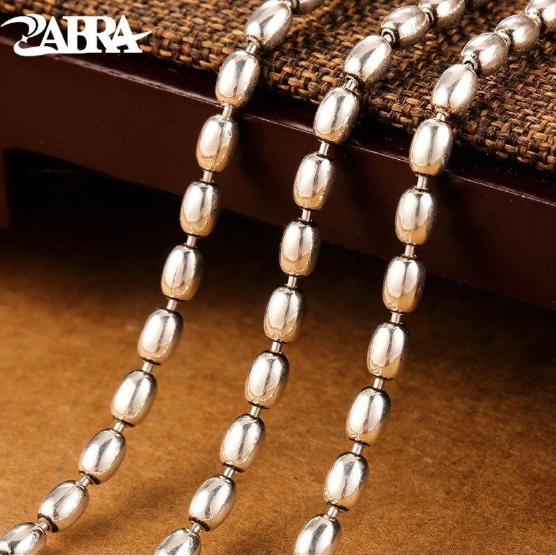 ZABRA collier hommes 925 argent 3mm 55 cm Vintage Long rond Grain de riz forme hommes chaîne collier rétro bijoux Sterling pour homme