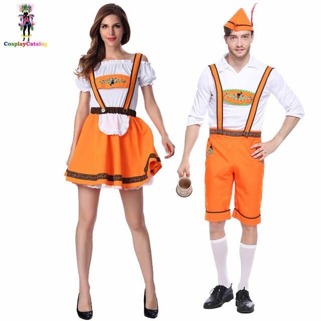 25a72ce222f US $19.99 |German Oktoberfest Couple Costumes Men's Bavarian Lederhosen  Costume Oktoberfest Women Uniforms Girl Halloween Fancy Dresses-in Sexy ...