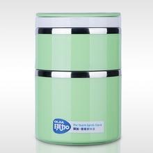 Doppelschicht Edelstahl Lunchbox mit Griff Isolierte Lebensmittelbehälter Lunchbox Student Bento Box Geschirr Sets