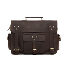 ROCKCOW Men Briefcases Laptop Bag Vintage Style Cross Body Messenger Bag Cowhide Leather New Arrival 7200