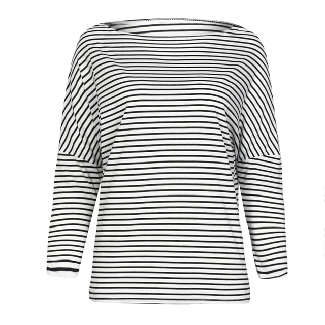 78f7f9f45f2aa New Sexy Women Striped T-shirt Batwing Sleeve Drop Shoulder Boat Neck Long  Sleeve T shirts for Women Autumn Loose Pullover Tops