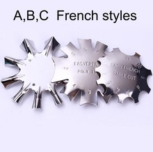 3 Design Nail Template French A/B/C Easy Edge Trimmer 1PC Stamping Guide Templates Diy Steel Tools TMB4534