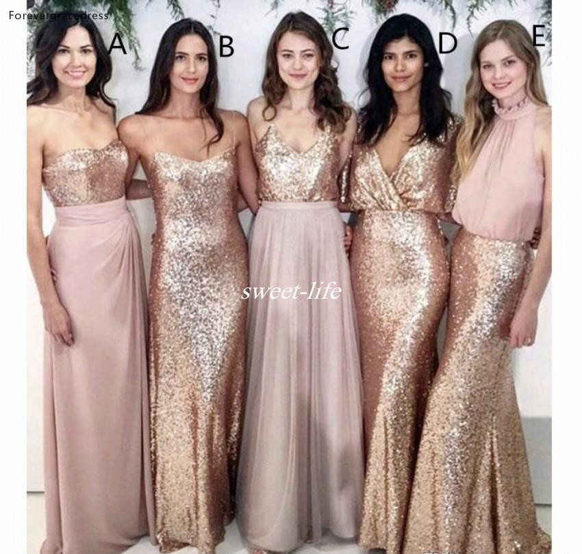 2019 Blush Pink   Bridesmaid     Dress   With Rose Gold Sequin Long Country Garden Formal Party Guest Maid of Honor Gown Plus Size