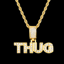 Letter THUG Pendant Gold Chain Necklace for Men Iced Out CZ Paved Hip Hop Jewelry Titanium Stainless Steel Dog Tag Male ZE002 цены онлайн