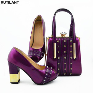 Image 4 - New Italian Designer Shoes and Bags Matching Set African Women Shoes Bags Set  High Heel Women Party Pumps Elegant Crystal Shoes