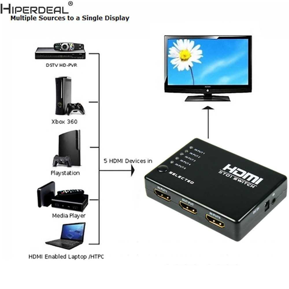 HIPERDEAL 5 ميناء 1080 P فيديو HDMI التبديل الجلاد الفاصل ل HDTV DVD PS3 + IR عن بعد