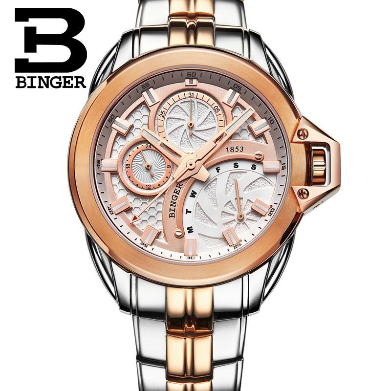 Switzerland men's watch luxury brand clock BINGER Quartz men watches full stainless steel Chronograph Diver glowwatch B6012-3 2017 switzerland luxury relogio masculino binger brand quartz full stainless clock chronograph diver glowwatch b9011 3