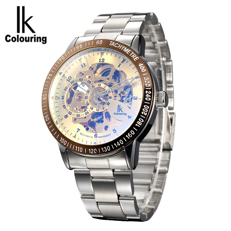 New 2017 IK Colouring Fashion Mechanical Gold Skeleton Watch Auto Stainless Steel Men's Watches Wristwatch Free Ship ik luxury fashion casual stainless steel men automatic mechanical watch skeleton watch for men s dress wristwatch free ship