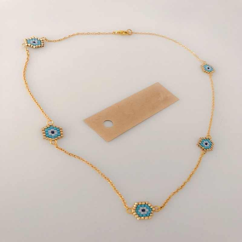 Shinus 10pcs/lot MIYUKI Necklace Women Evil Eye Necklaces Diy Choker Summer Jewelry Etsy handmade Gold Chain Necklace Wholesale